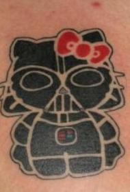肩部黑色凯蒂猫飞镖维德纹身