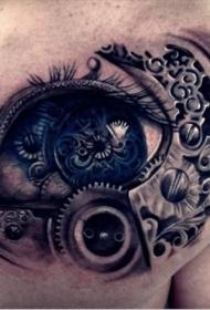 3D立体雕花眼睛纹身图案