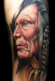 彩色逼真的古老印度人肖像纹身图案