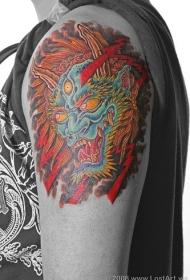 有角的日式恶魔纹身图案