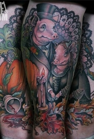 尼斯童话彩色猪家庭纹身图案