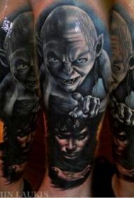 惊人的妖怪与人像纹身图案