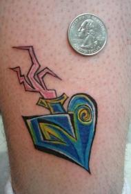 腿部多彩的超现实的神圣的爱心纹身