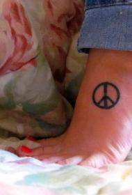 脚背简约和平墨水标志纹身图案