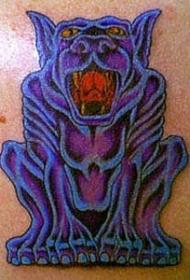 紫色的石像鬼与狗头纹身图案