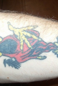 腿部彩色死亡鸟纹身图案