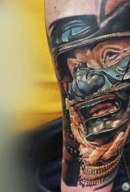 手臂彩色写实插画风格武士面具纹身