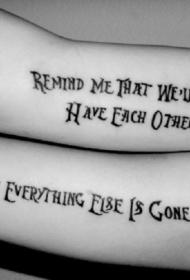 手臂象征友谊的英文字母纹身图案