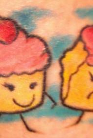 肩部彩色有趣的纸杯蛋糕纹身图案