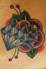 简约的花和钻石纹身图案
