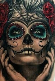 腿部彩色死亡女孩纹身图案