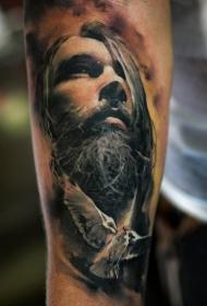 手臂彩色男子胡须脸肖像纹身图案