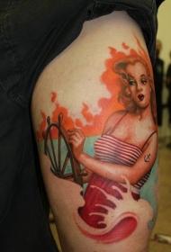 腿部彩色旧货金发水手女孩纹身图片