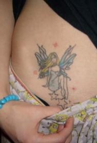 女生腹部漂亮的精灵和星星纹身图案
