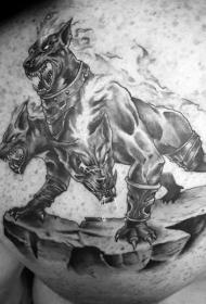 肩部插画风格邪恶的地狱犬纹身图案