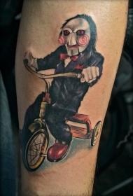 腿部彩色电影恶棍骑自行车纹身