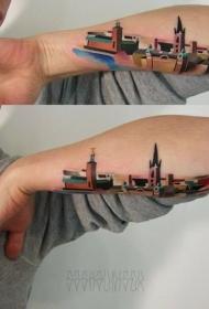 男性手臂彩色积木古城纹身图案