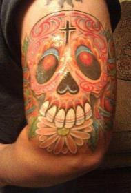 手臂骷髅花朵彩色纹身图案