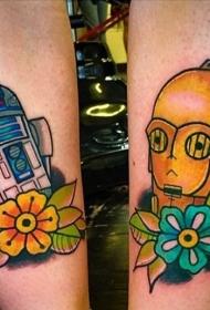 小腿彩绘金色面具和机器人花朵纹身图案
