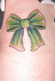 女性腰部彩色蝴蝶结纹身图案