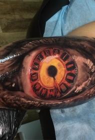 大臂内侧彩色时钟眼睛纹身图案