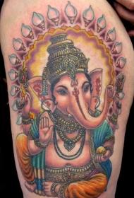 大腿可爱印度象神纹身图案