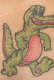 肩部卡通的绿色鳄鱼纹身图案