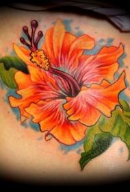 女性腰侧彩色木槿花纹身图案