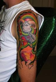 男性肩部彩色大公羊纹身图案