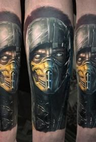 手臂新风格的彩色致命战斗战士纹身图案