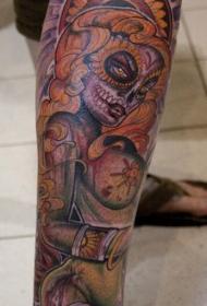 腿部彩色性感僵尸女孩纹身图片