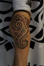 大腿波利尼西亚图腾纹身图案
