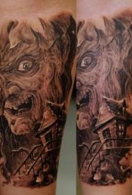 手臂棕色恐怖女巫与房屋纹身图案