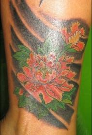 优雅的日式牡丹花纹身图案