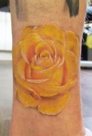 可爱的黄色玫瑰纹身图案