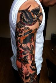 old school彩色墨西哥女性与鹰和玫瑰纹身图案