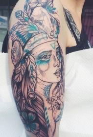 大臂素描风格印度女郎与羽毛纹身图案