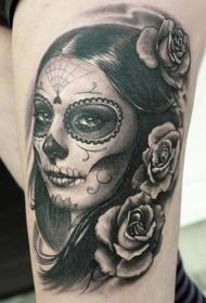 腿部灰色微笑的死亡女孩纹身图案