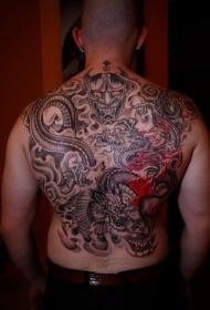 伟大的龙与恶魔纹身图案