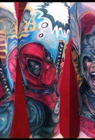 小臂很酷的漫画死侍和雷神纹身图案