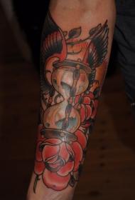 手臂彩色老学校沙漏与玫瑰花纹身图片