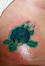 肩部卡通彩色搞笑小绿龟纹身图案
