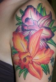 肩部紫色和橙色的木槿花纹身图片