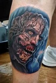 小腿彩色怪物僵尸脸纹身图案