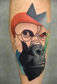 手臂彩色半写实半画式大猩猩纹身图片