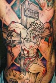 腰侧彩色伟大受难的耶稣纹身图案
