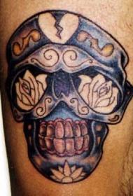 彩色骷髅和花朵纹身图案