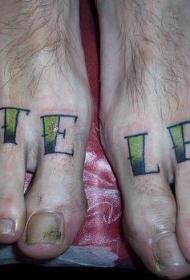 脚部彩色英文字母纹身图片