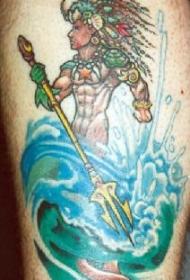 海面上的波塞冬彩色纹身图案