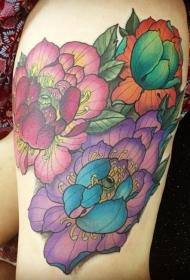 大腿好看的各种花卉彩色纹身图案